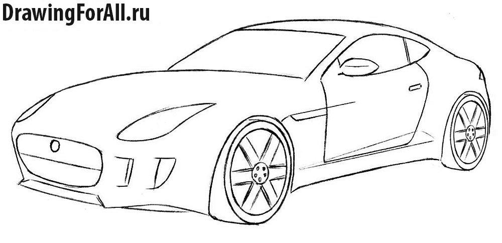 Как нарисовать машину Ягуар