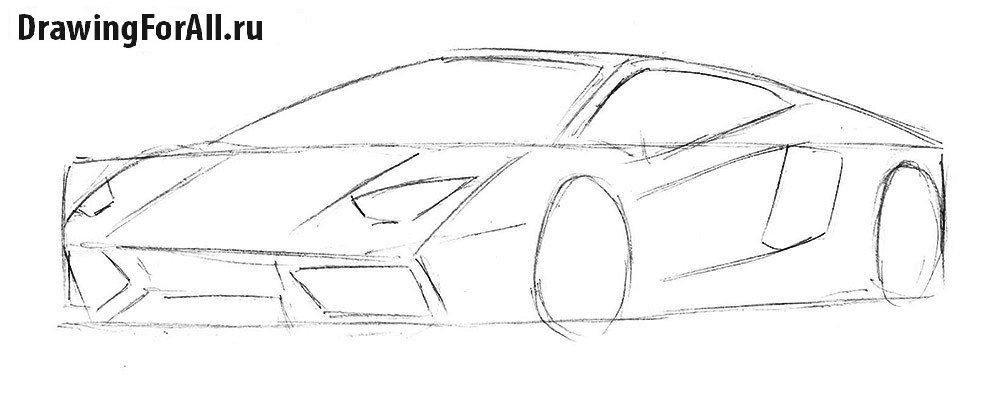 нарисовать машину ламборджини поэтапно