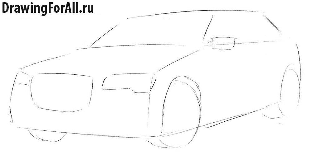 Как нарисовать Крайслер карандашом