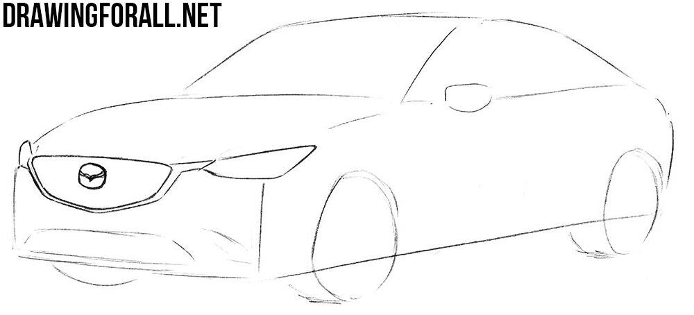 Как нарисовать автомобиль Мазда карандашом