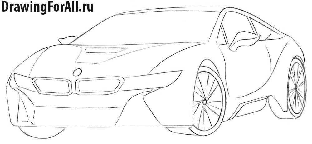 Как нарисовать автомобиль БМВ