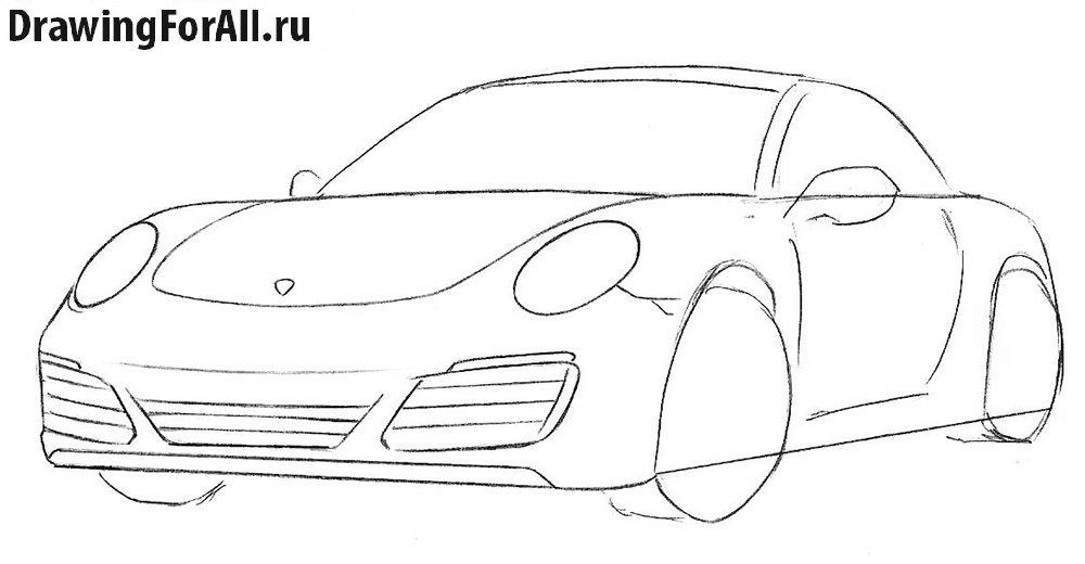 Как нарисовать автомобиль Порше
