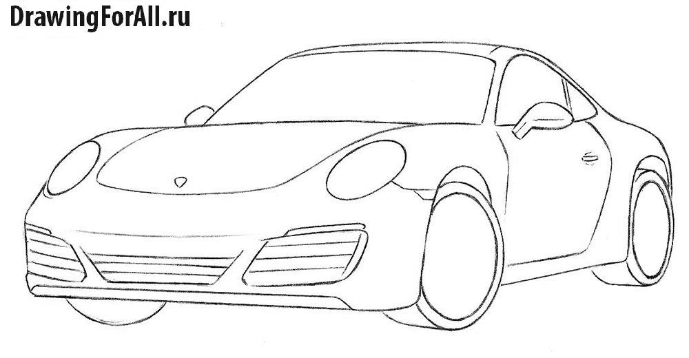 Как нарисовать автомобиль Порше 911