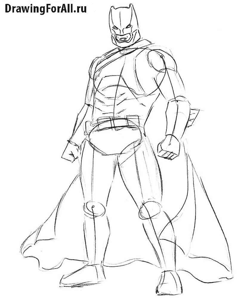 Как нарисовать Бэтмена в доспехах