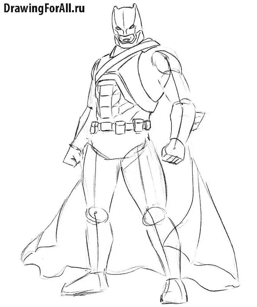 как ребенку нарисовать Бэтмена