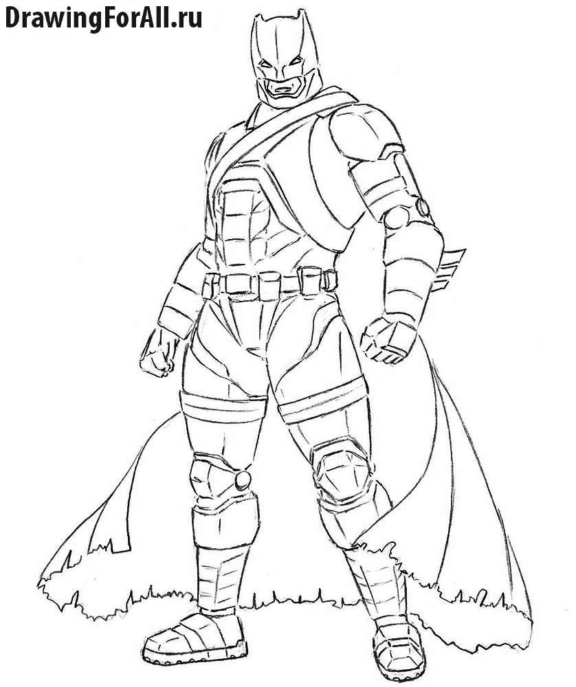 Как нарисовать Бэтмена в броне