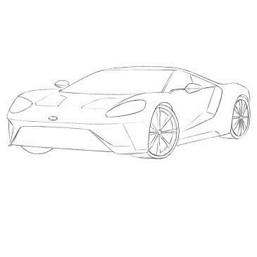 Как нарисовать Форд GT