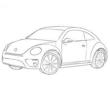 Как нарисовать автомобиль Фольксваген Жук