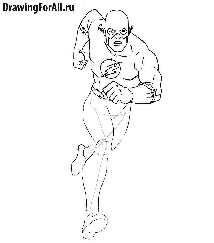 Как нарисовать Флэша из Лиги Справедливости