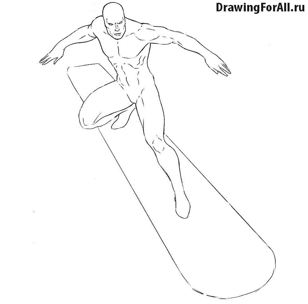Серебряный Серфер рисуем ноги
