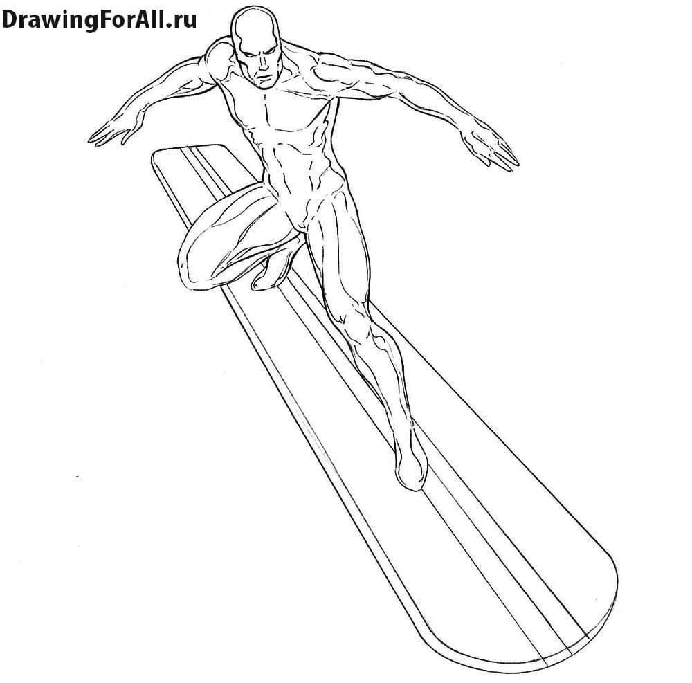 Как нарисовать Серебряного Серфера