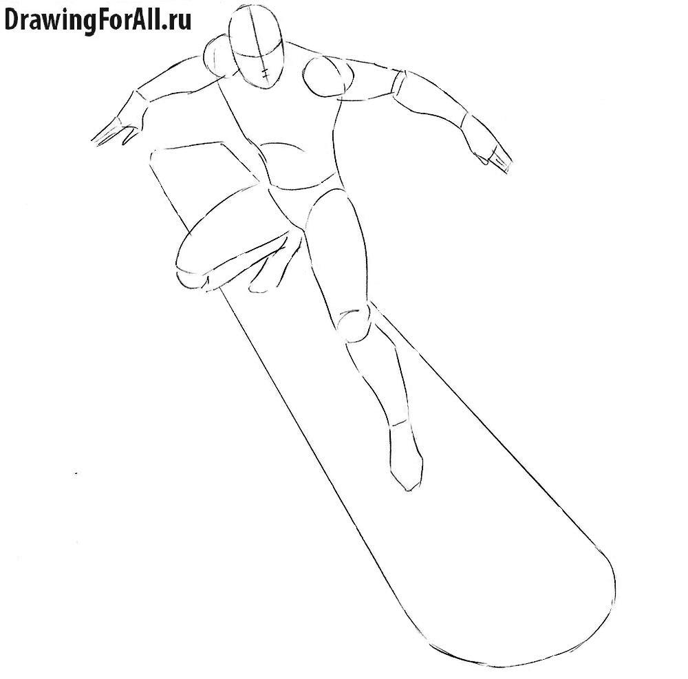 Рисование Серебряного Серфера силуэт