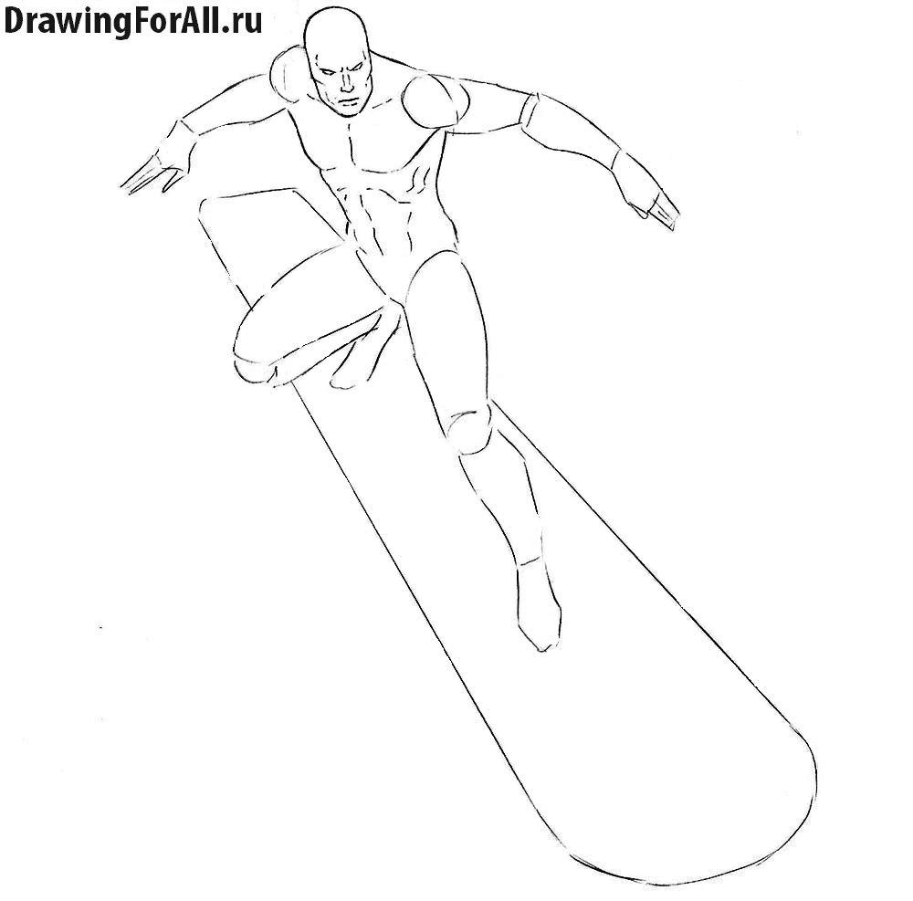 Как нарисовать Серебряного Серфера из Марвел