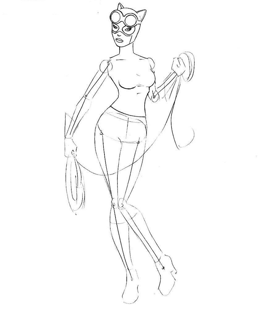Как нарисовать Женщину-Кошку карандашом поэтапно
