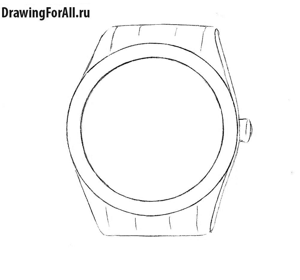 Как нарисовать наручные часы поэтапно