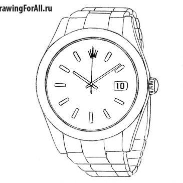 Как нарисовать наручные часы Ролекс