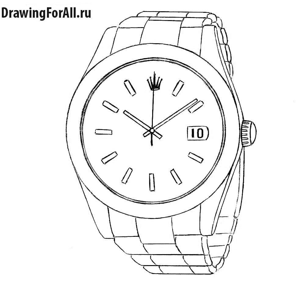 Как нарисовать наручные часы
