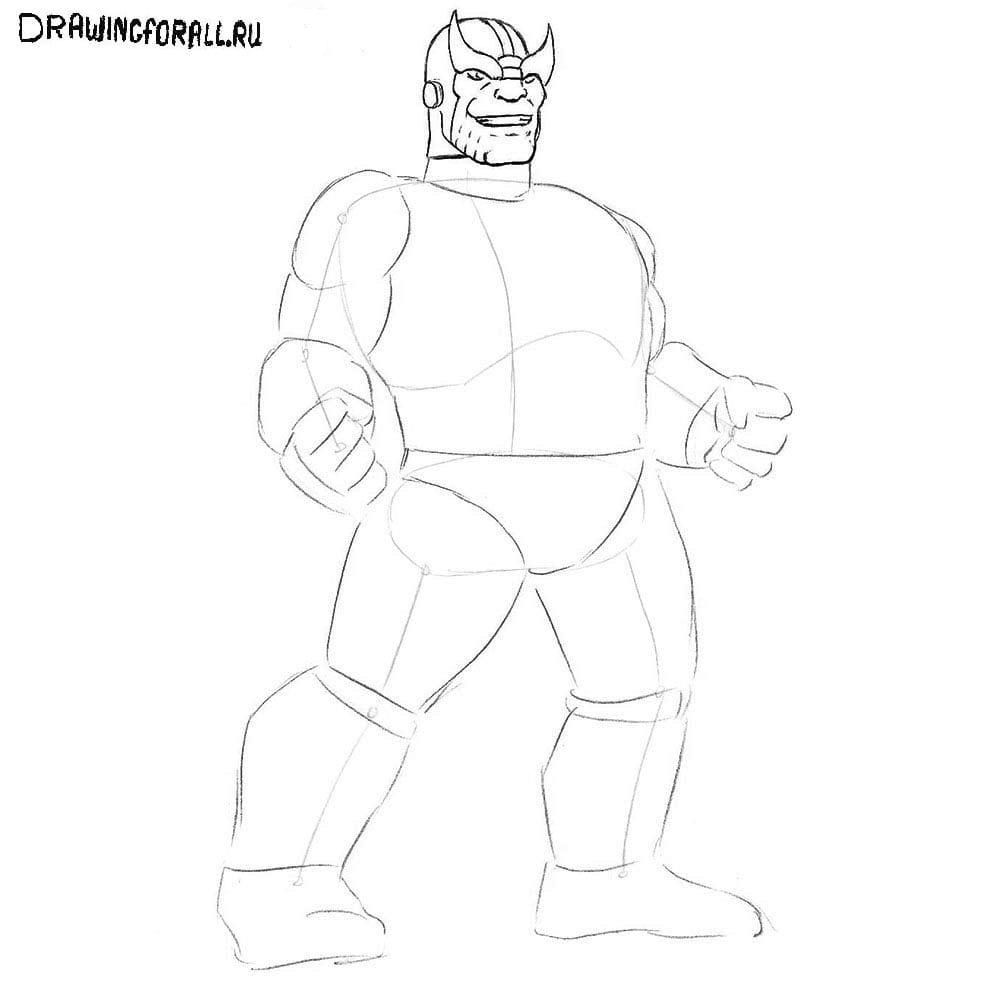 Как нарисовать Таноса поэтапно