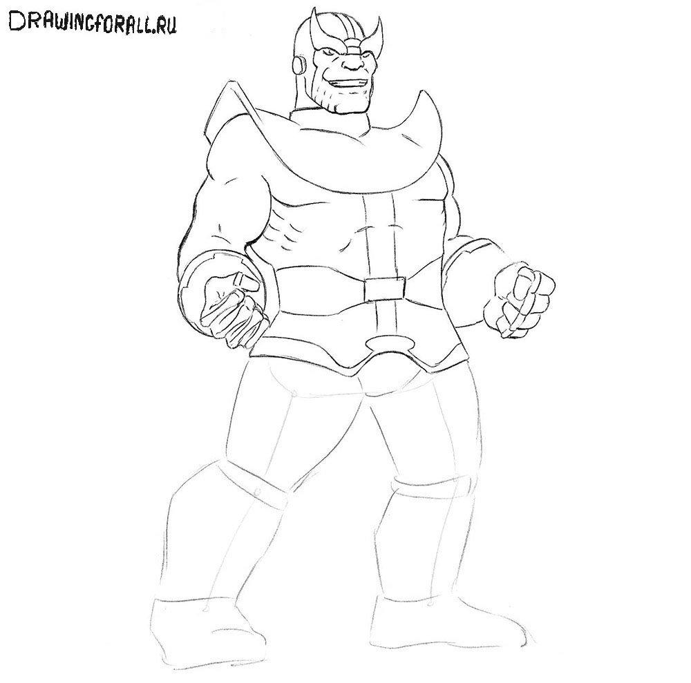 Как нарисовать Таноса шаг за шагом