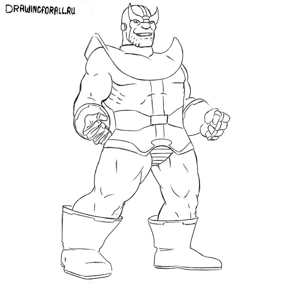 Как нарисовать Таноса из Марвел карандашом