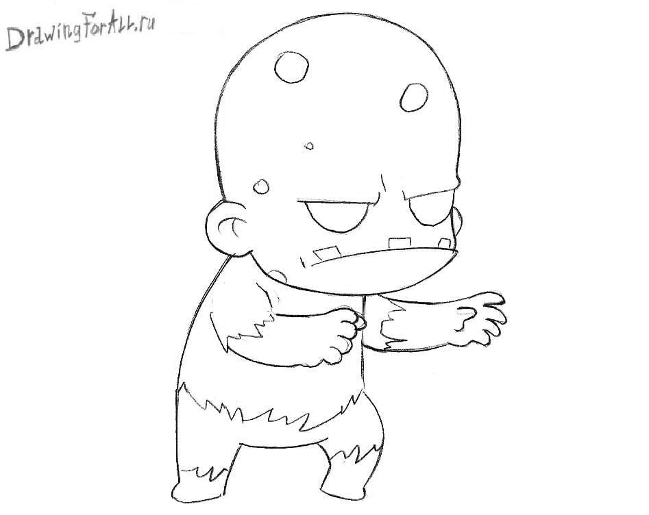 Как нарисовать Чиби Зомби