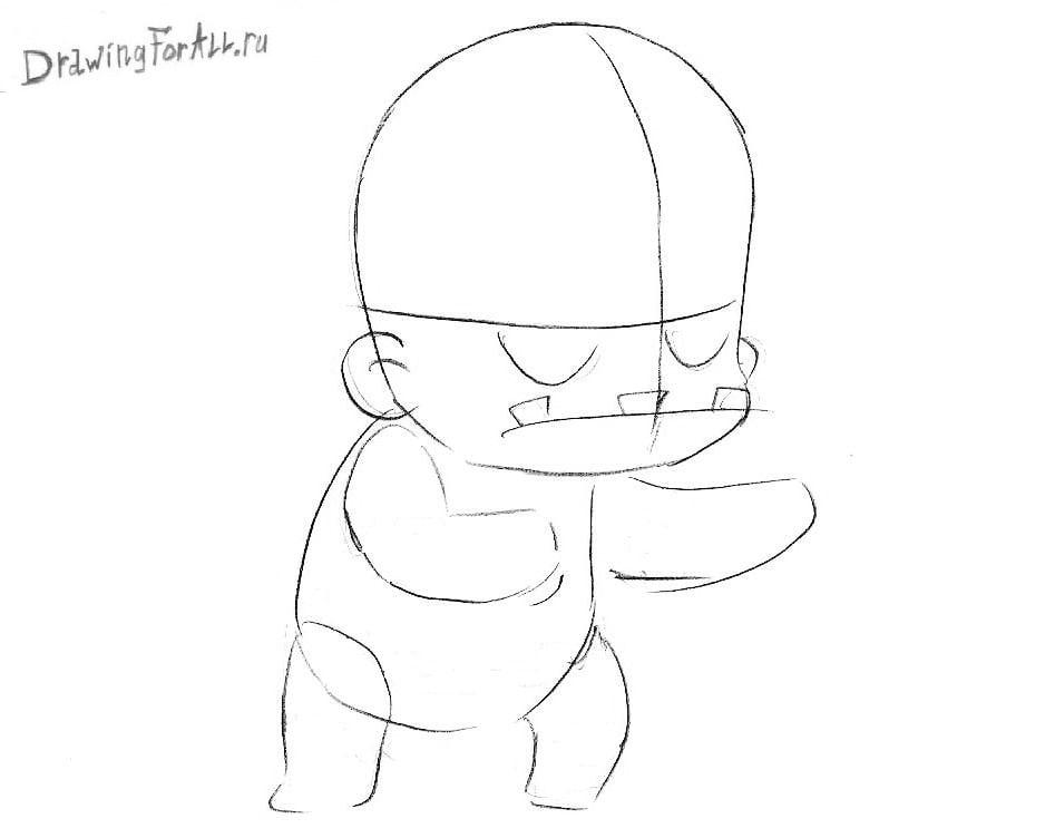 Как нарисовать лицо Чиби Зомби