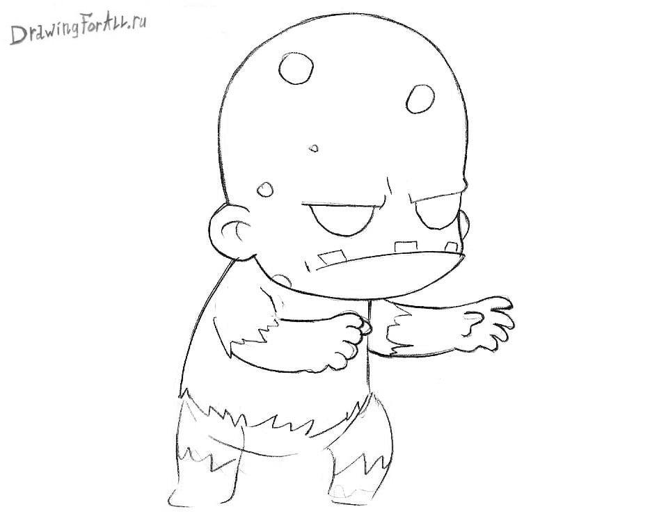 Как нарисовать Чиби Зомби для детей