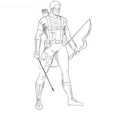 Как нарисовать Соколиного Глаза из Мстителей