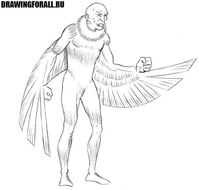 Как нарисовать стервятника из марвел
