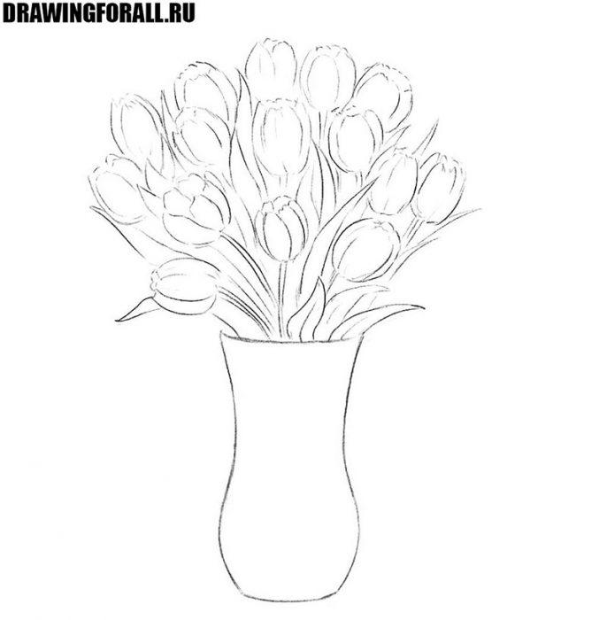 как рисовать цветы в вазе