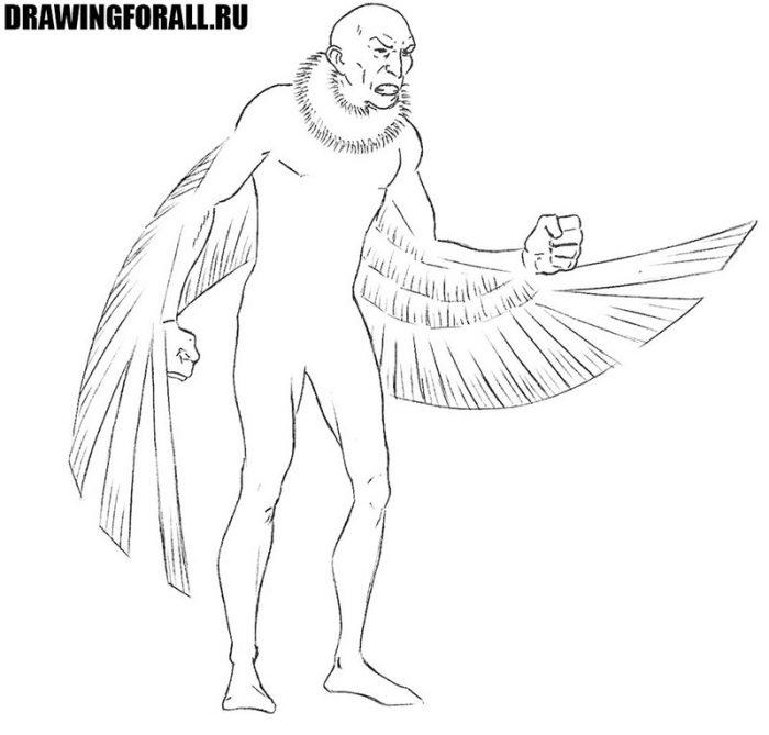 как нарисовать стервятника из человека паука
