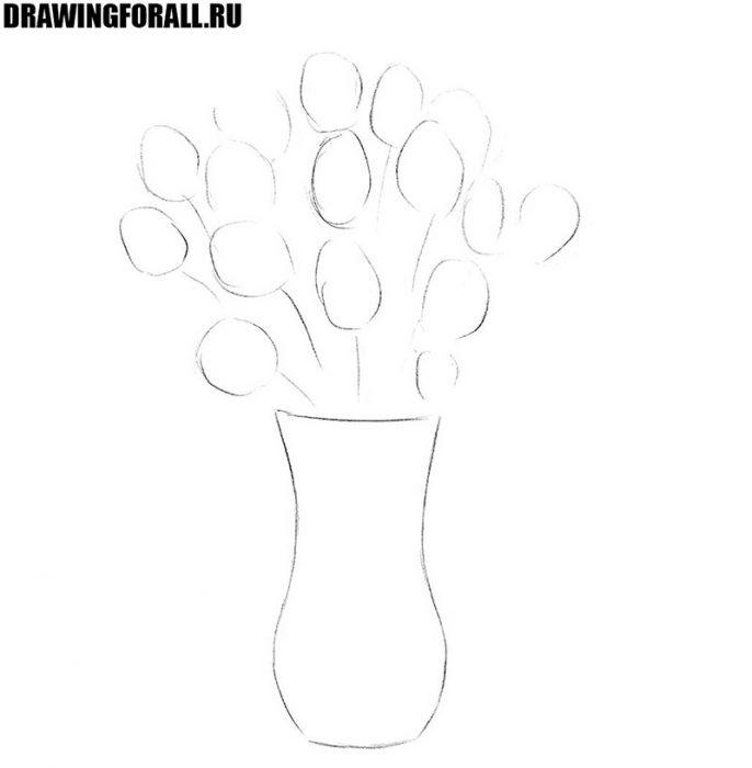 как нарисовать вазу с цветами легко